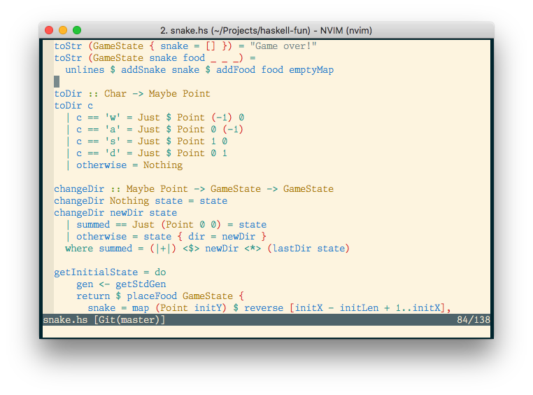 A screen shot showing use of applicative functors, currying, and pattern matching in the Adder source code